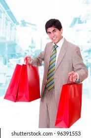 A young man shopping