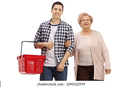 Young man with a shopping basket and an elderly woman isolated on white background