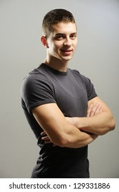 Young man short hair in white t-shirt portrait