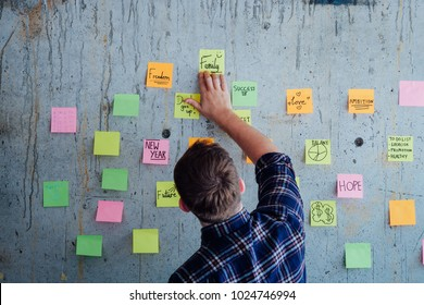 Young Man with shot note concept on the wall inspiration quote