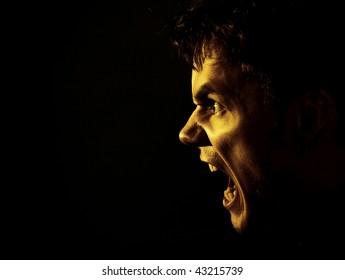 a young man shouting