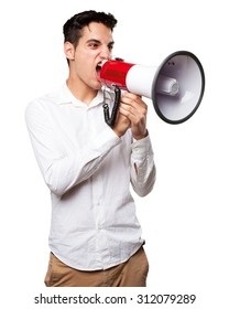 young man shouting with megaphone