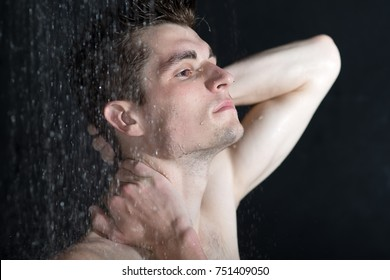 Young man in shower