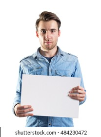 young man showing a blank paper page ready for text or product, two clipping paths included, one for body and second for the page