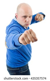 young man showing his fist isolated on white background