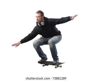 Young man skating