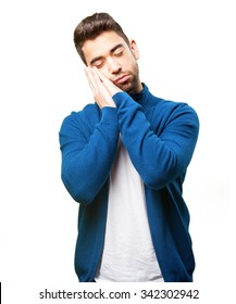 young man sleeping gesture
