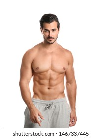 Young man with slim body on white background