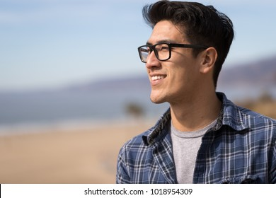 Young man smile happy face