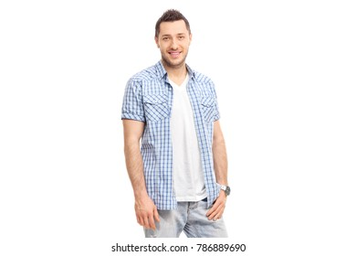 Young man smiling and looking at the camera isolated on white background