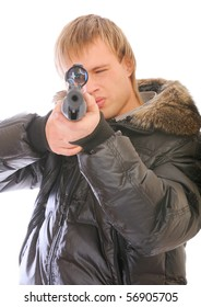 Young man with sniper rifle, isolated on white background.
