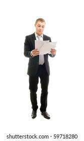 Young man with some documents. Isolated on white.
