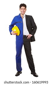 Young man standing half in a jump suit and business clothing