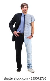 Young man standing half in a t-shirt  and business clothing
