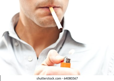 Young man starting smoking
