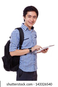 young man student with a touch tablet computer smiling
