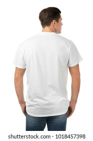 Young man in stylish t-shirt on white background. Mockup for design