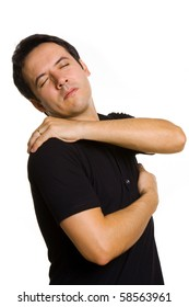 young man suffering from back pain, isolated on white