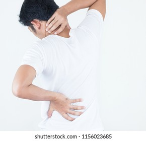 Young man suffering from neck and back pain on white background, Chiropractic concept.