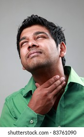 Young man suffers from throat infection