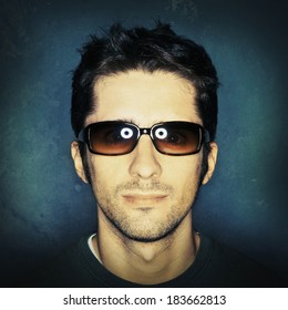 Young man in sunglasses, instagram style