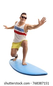 Young man surfing isolated on white background
