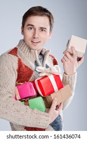 young man surprised gifts