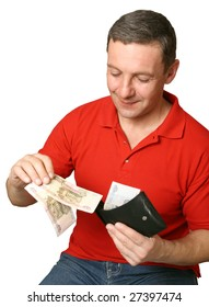 Young the man takes out money from a purse