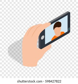 Young man taking selfie photo isometric icon 3d on a transparent background  illustration