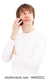 Young man talking by mobile phone. Light picture