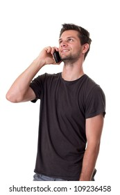 Young Man talking on the phone and smiling