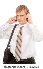 Young man talking on two mobile phone, isolated on white background.