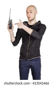 young man talking via radio station. communication concept