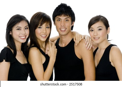 A young man and three women in black casual tops on white background