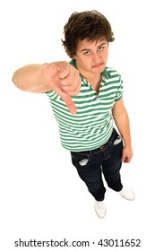 Young man with thumbs down