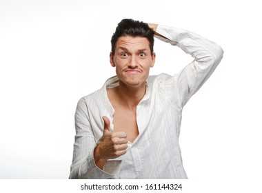Young man thumbs up white background