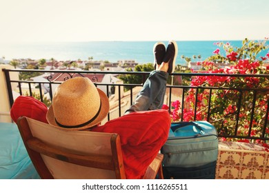 young man tourist relax on scenic balcony terrace
