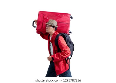 Young man tourist with travel bag isolated on white background,concept summer and happy man go to travel