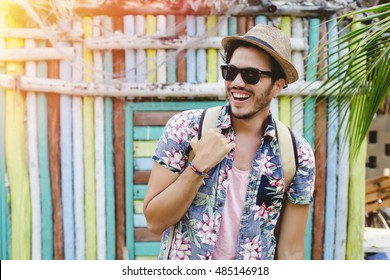 Young man traveling in latin america. Holbox, Mexico