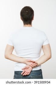 Young man turning back, white background