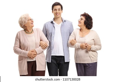 Young man and two elderly women smiling isolated on white background