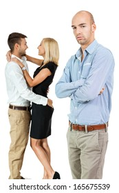 young man unhappy jealous couple behind isolated on white