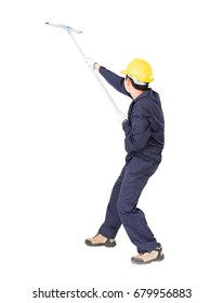 Young man in uniform hold mop for cleaning glass window, Cut out isolated on white background