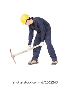 Young man in uniform hold old pick mattock that is a mining device, Cut out isolated on white background