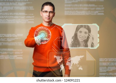 Young man using digital interface to communicate