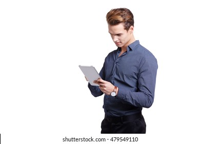 Young Man Using Digital Tablet Isolated On White Background