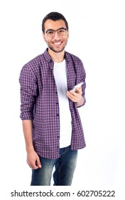 Young man using mobile phone - isolated