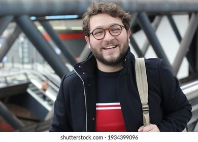 Young man using public transportation