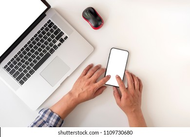 young man using smart phone with white screen, online shopping concept.