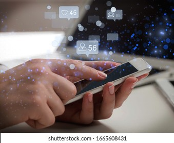 Young man using smart phone with social media illustrations